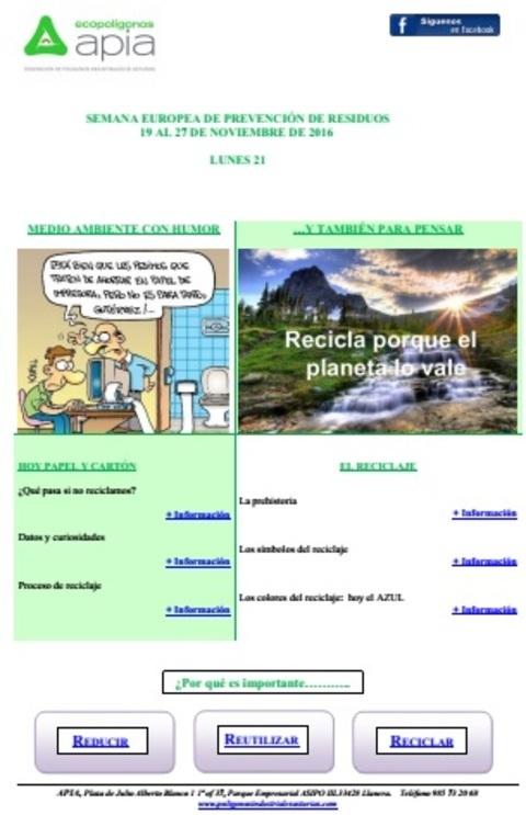 Federación de Polígonos Industriales de Asturias - Boletín 21 de noviembre Semana Europea de Prevención de Residuos 2016 - Federación de Polígonos Industriales de Asturias