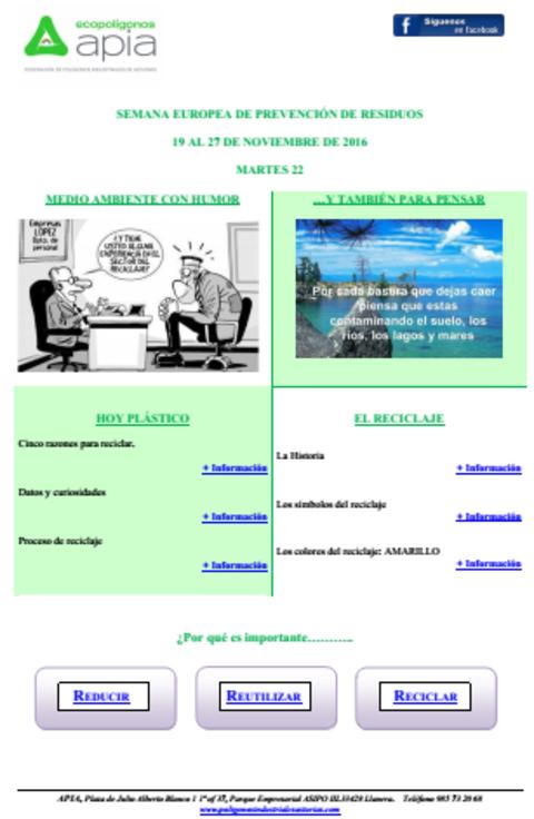 Federación de Polígonos Industriales de Asturias - Boletín 22 de noviembre Semana Europea de Prevención de Residuos 2016 - Federación de Polígonos Industriales de Asturias