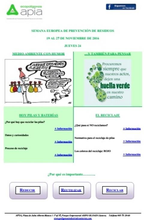 Federación de Polígonos Industriales de Asturias - Boletín 24 de noviembre Semana Europea de Prevención de Residuos 2016 - Federación de Polígonos Industriales de Asturias