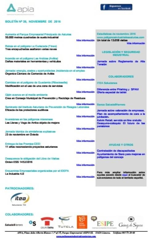 Federación de Polígonos Industriales de Asturias - Boletín nº 39, noviembre 2016 - Federación de Polígonos Industriales de Asturias