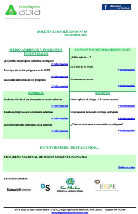 Federación de Polígonos Industriales de Asturias - Boletín Ecopolígonos nº 15 - Federación de Polígonos Industriales de Asturias