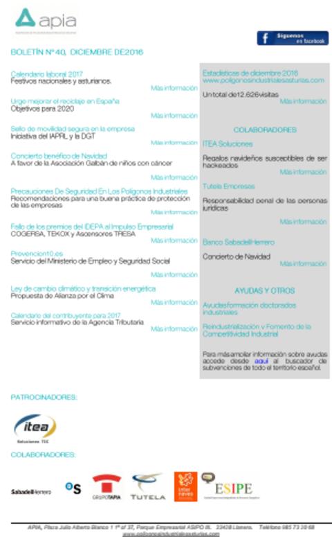 Federación de Polígonos Industriales de Asturias - Boletín nº 40, diciembre 2016 - Federación de Polígonos Industriales de Asturias