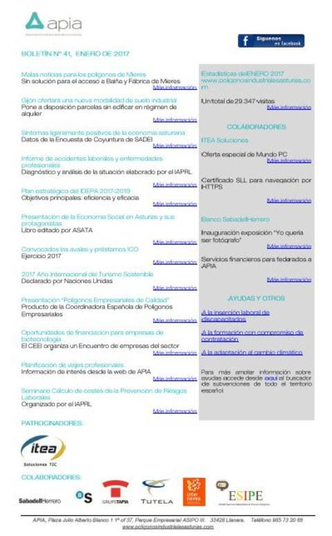Federación de Polígonos Industriales de Asturias - Boletín nº 41, enero de 2017 - Federación de Polígonos Industriales de Asturias