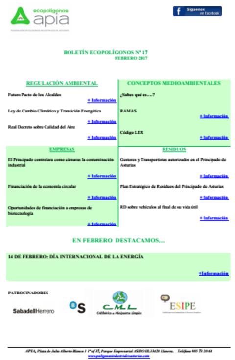 Federación de Polígonos Industriales de Asturias - Boletín Ecopolígono nº 17 - Federación de Polígonos Industriales de Asturias