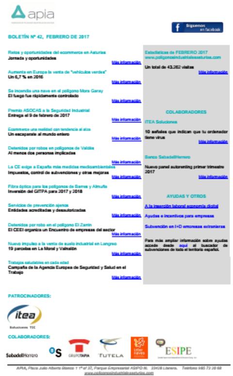 Federación de Polígonos Industriales de Asturias - Boletín nº 42, febrero de 2017 - Federación de Polígonos Industriales de Asturias