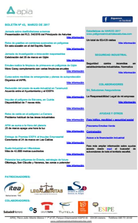 Federación de Polígonos Industriales de Asturias - Boletín nº 43, marzo de 2017 - Federación de Polígonos Industriales de Asturias