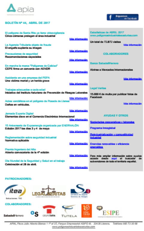 Federación de Polígonos Industriales de Asturias - Boletín nº 44, abril de 2017 - Federación de Polígonos Industriales de Asturias