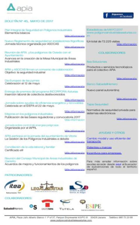 Federación de Polígonos Industriales de Asturias - Boletín nº 45, mayo de 2017 - Federación de Polígonos Industriales de Asturias