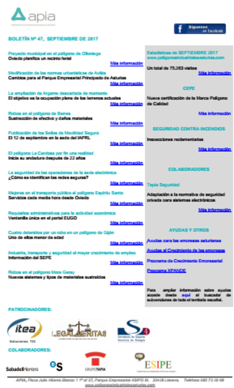 Federación de Polígonos Industriales de Asturias - Boletín nº 47, septiembre 2017 - Federación de Polígonos Industriales de Asturias