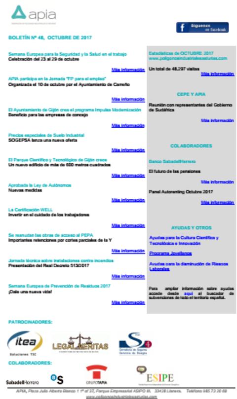 Federación de Polígonos Industriales de Asturias - Boletín nº 48, octubre 2017 - Federación de Polígonos Industriales de Asturias
