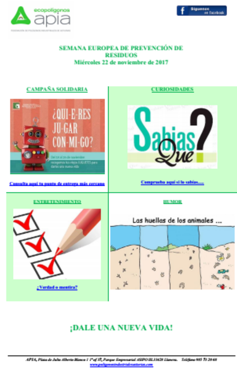 Federación de Polígonos Industriales de Asturias - Boletín 22 de Noviembre Semana Europea de Prevención de Residuos 2017 - Federación de Polígonos Industriales de Asturias