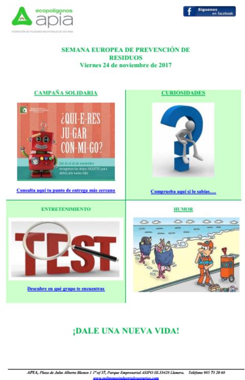 Federación de Polígonos Industriales de Asturias - Boletín 24 de Noviembre Semana Europea de Prevención de Residuos 2017 - Federación de Polígonos Industriales de Asturias