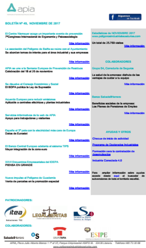 Federación de Polígonos Industriales de Asturias - Boletín nº 49, noviembre 2017 - Federación de Polígonos Industriales de Asturias