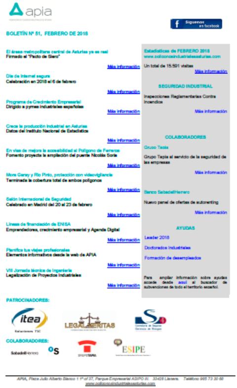 Federación de Polígonos Industriales de Asturias - Boletín nº 51, febrero 2018 - Federación de Polígonos Industriales de Asturias