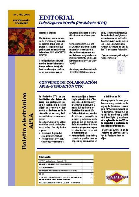 Federación de Polígonos Industriales de Asturias - Boletín Nº 1 Noviembre 2004   - Federación de Polígonos Industriales de Asturias