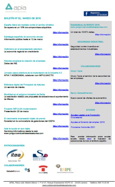 Federación de Polígonos Industriales de Asturias - Boletín nº 52, marzo 2018 - Federación de Polígonos Industriales de Asturias