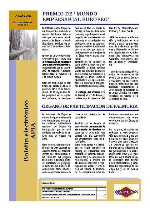 Federación de Polígonos Industriales de Asturias - Boletín Nº 4 Febrero 2005 - Federación de Polígonos Industriales de Asturias