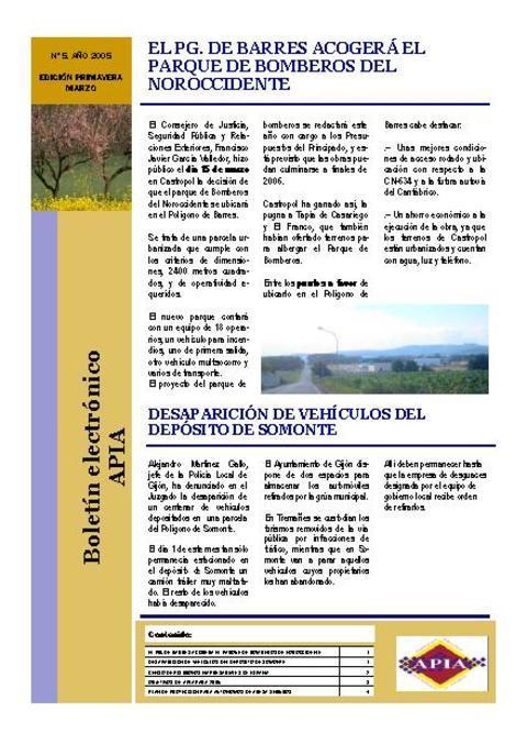 Federación de Polígonos Industriales de Asturias - Boletín Nº 5 Marzo 2005 - Federación de Polígonos Industriales de Asturias