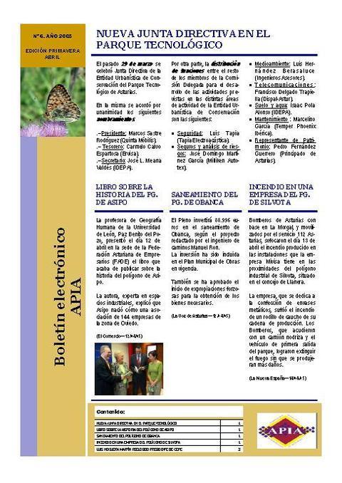 Federación de Polígonos Industriales de Asturias - Boletín Nº 6 Abril 2005 - Federación de Polígonos Industriales de Asturias