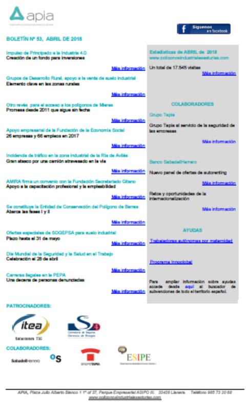 Federación de Polígonos Industriales de Asturias - Boletín nº 53, abril 2018 - Federación de Polígonos Industriales de Asturias