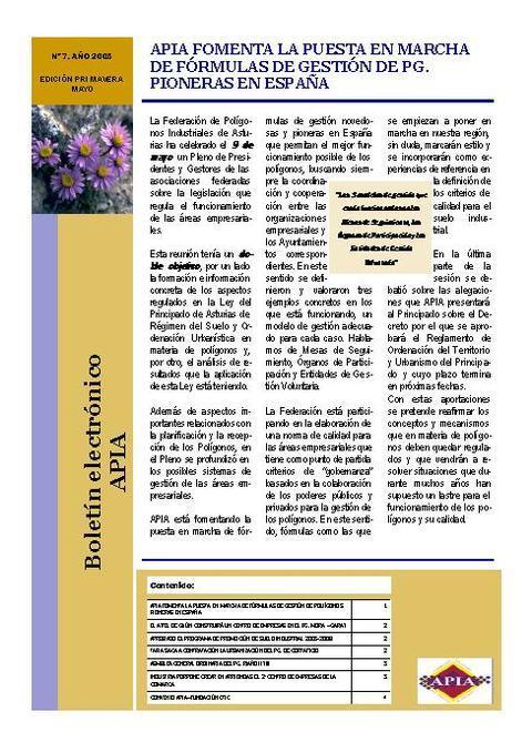 Federación de Polígonos Industriales de Asturias - Boletín Nº 7 Mayo 2005 - Federación de Polígonos Industriales de Asturias