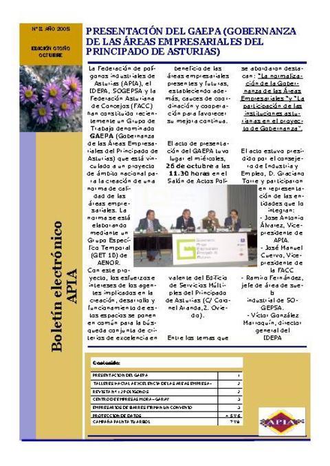 Federación de Polígonos Industriales de Asturias - Boletín Nº 8 Noviembre 2005 - Federación de Polígonos Industriales de Asturias
