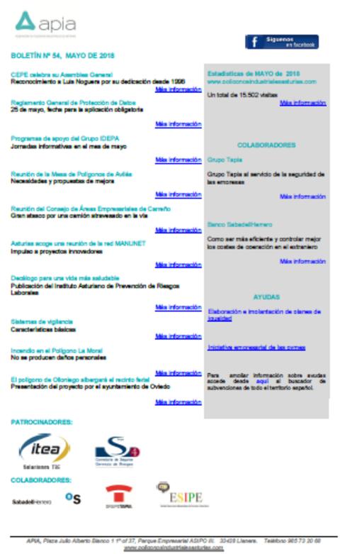 Federación de Polígonos Industriales de Asturias - Boletín nº 54, mayo 2018 - Federación de Polígonos Industriales de Asturias