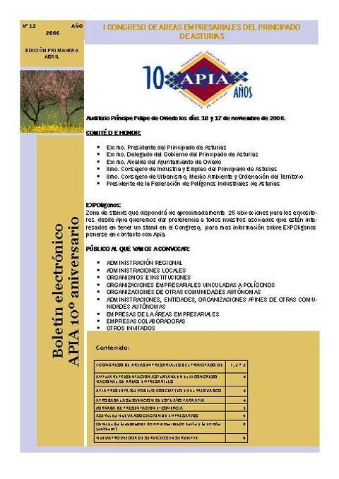 Federación de Polígonos Industriales de Asturias - Boletín Nº 12 Abril 2006 - Federación de Polígonos Industriales de Asturias