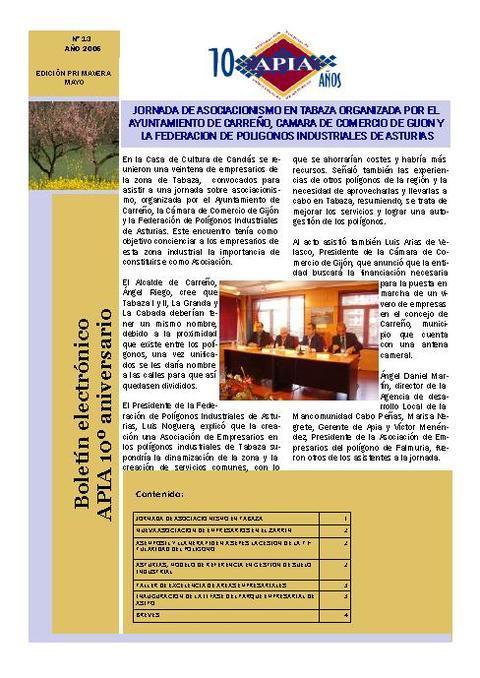 Federación de Polígonos Industriales de Asturias - Boletín Nº 13 Mayo 2006 - Federación de Polígonos Industriales de Asturias
