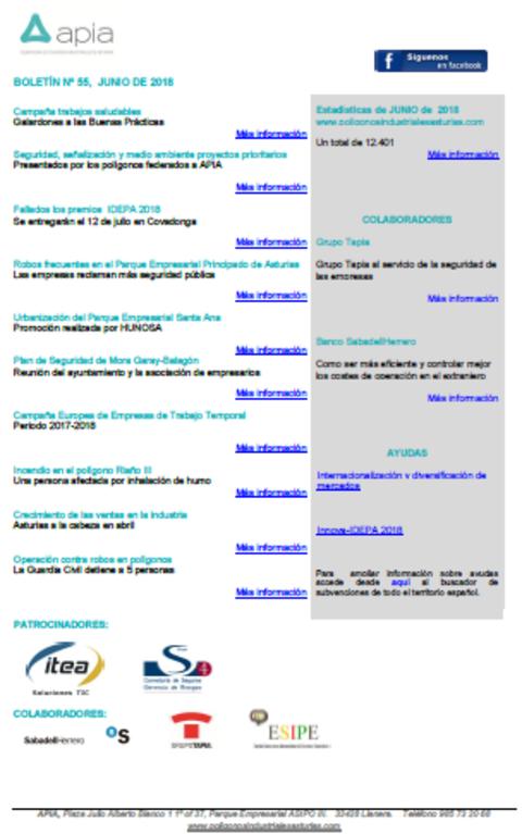 Federación de Polígonos Industriales de Asturias - Boletín nº 55, junio 2018 - Federación de Polígonos Industriales de Asturias