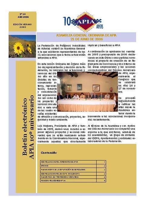 Federación de Polígonos Industriales de Asturias - Boletín Nº 14 Junio 2006 - Federación de Polígonos Industriales de Asturias