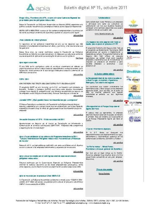 Federación de Polígonos Industriales de Asturias - Boletín Nº 15 Octubre 2011 - Federación de Polígonos Industriales de Asturias
