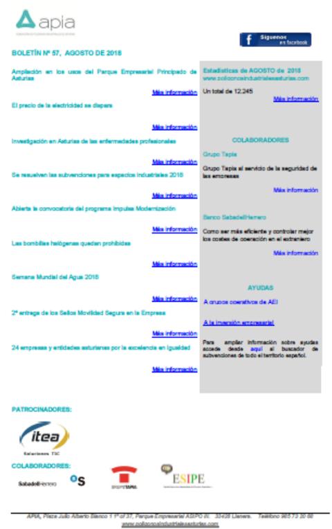 Federación de Polígonos Industriales de Asturias - Boletín nº 57, agosto 2018 - Federación de Polígonos Industriales de Asturias