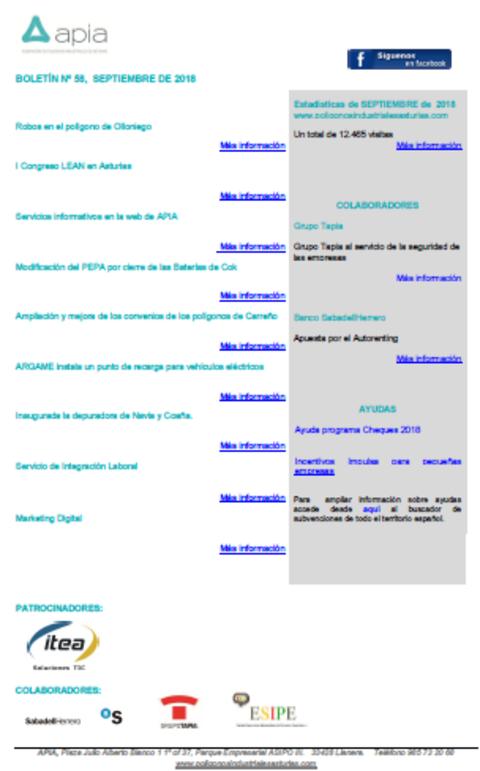 Federación de Polígonos Industriales de Asturias - Boletin nº 58, septiembre 2018 - Federación de Polígonos Industriales de Asturias