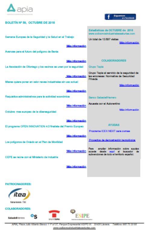 Federación de Polígonos Industriales de Asturias - Boletín nº 59, octubre 2018 - Federación de Polígonos Industriales de Asturias