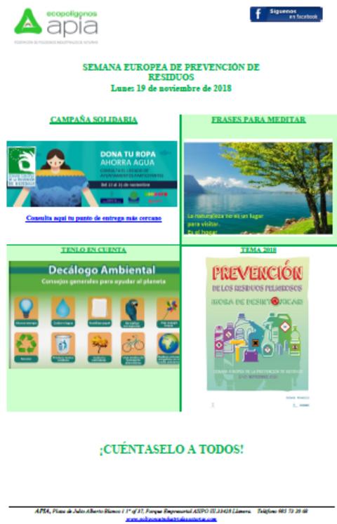 Federación de Polígonos Industriales de Asturias - Boletín 19 de noviembre, Semana Europea de Residuos 2018 - Federación de Polígonos Industriales de Asturias
