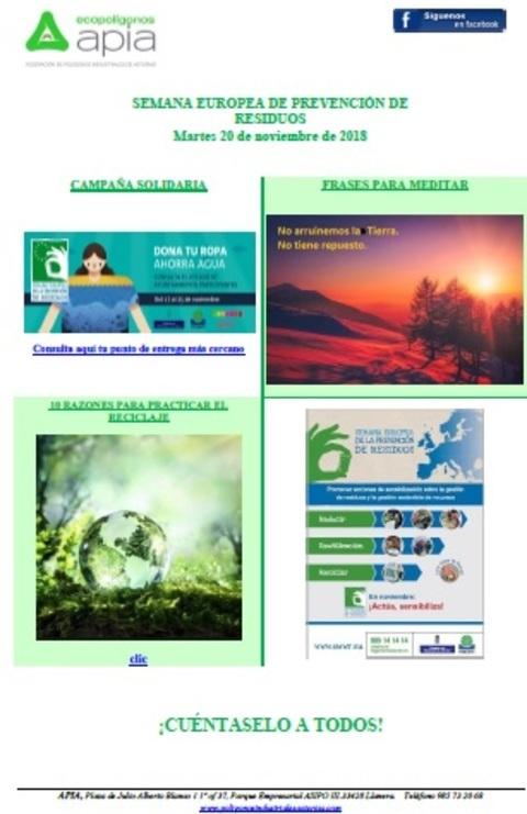 Federación de Polígonos Industriales de Asturias - Boletín 20 de noviembre, Semana Europea de Residuos 2018 - Federación de Polígonos Industriales de Asturias