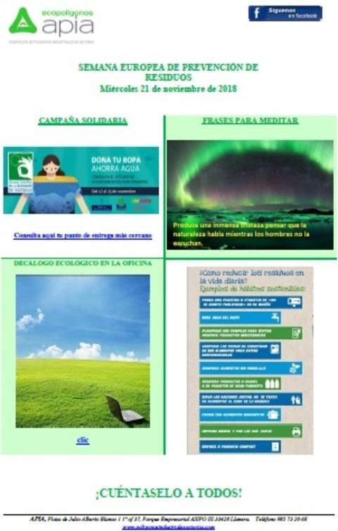 Federación de Polígonos Industriales de Asturias - Boletín 21 de noviembre, Semana Europea de Residuos 2018 - Federación de Polígonos Industriales de Asturias