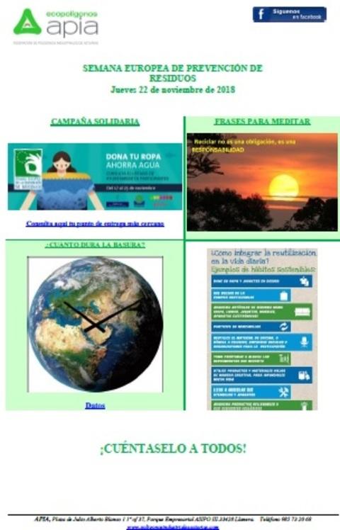 Federación de Polígonos Industriales de Asturias - Boletín 22 de noviembre, Semana Europea de Prevención de Residuos 2018 - Federación de Polígonos Industriales de Asturias