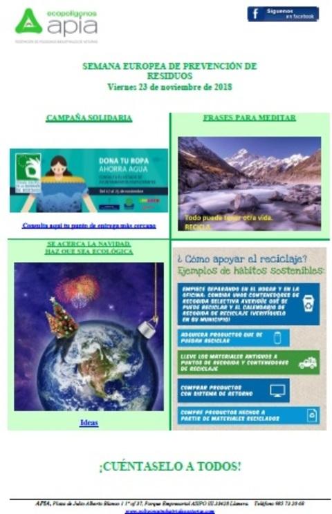 Federación de Polígonos Industriales de Asturias - Boletín 23 de noviembre, Semana Europea de Prevención de Residuos 2018 - Federación de Polígonos Industriales de Asturias
