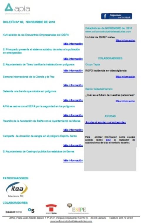 Federación de Polígonos Industriales de Asturias - Boletín nº 60, noviembre 2018 - Federación de Polígonos Industriales de Asturias