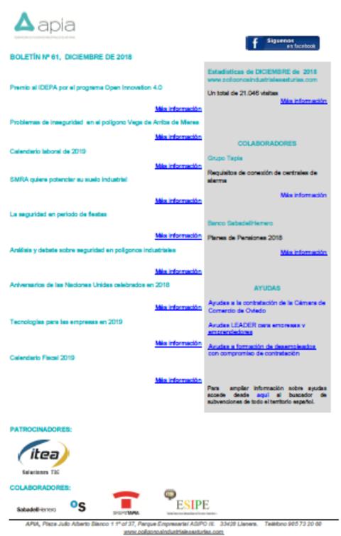 Federación de Polígonos Industriales de Asturias - Boletín nº 61, diciembre 2018 - Federación de Polígonos Industriales de Asturias