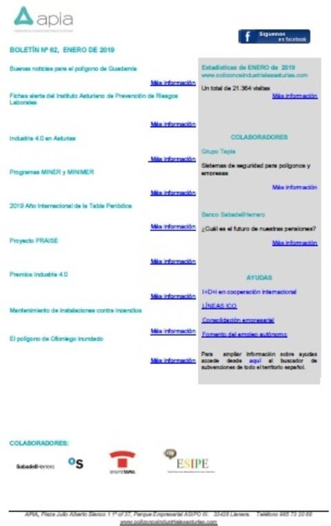 Federación de Polígonos Industriales de Asturias - Boletín nº 62, Enero 2019 - Federación de Polígonos Industriales de Asturias
