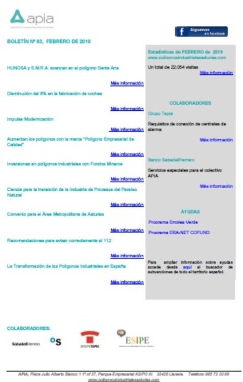 Federación de Polígonos Industriales de Asturias - Boletín nº63, febrero 2019 - Federación de Polígonos Industriales de Asturias