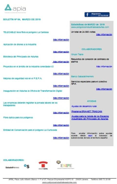 Federación de Polígonos Industriales de Asturias - Boletín nº 64, marzo 2019 - Federación de Polígonos Industriales de Asturias
