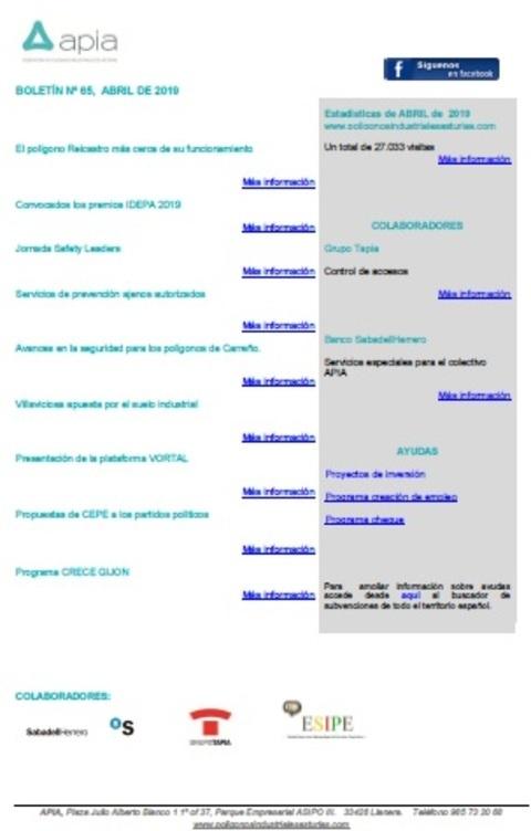 Federación de Polígonos Industriales de Asturias - Boletín nº 65, abril 2019 - Federación de Polígonos Industriales de Asturias
