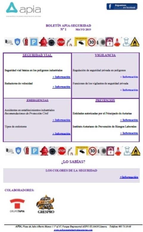 Federación de Polígonos Industriales de Asturias - Boletín APIA-SEGURIDAD nº1, mayo 2018 - Federación de Polígonos Industriales de Asturias