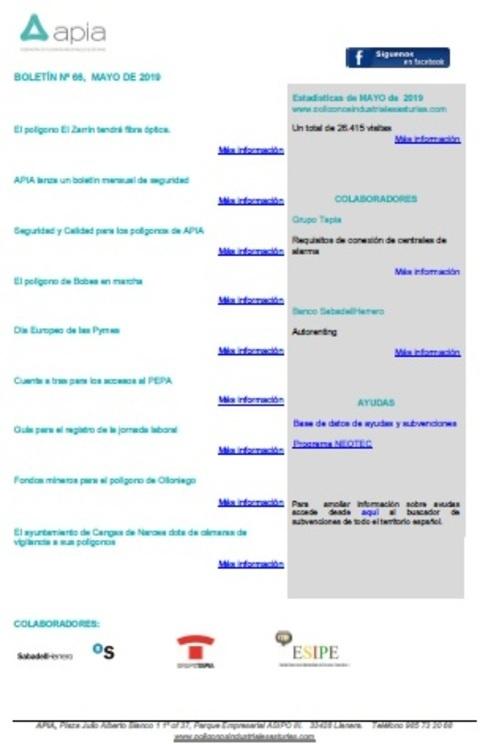 Federación de Polígonos Industriales de Asturias - Boletín nº 66, mayo 2019 - Federación de Polígonos Industriales de Asturias