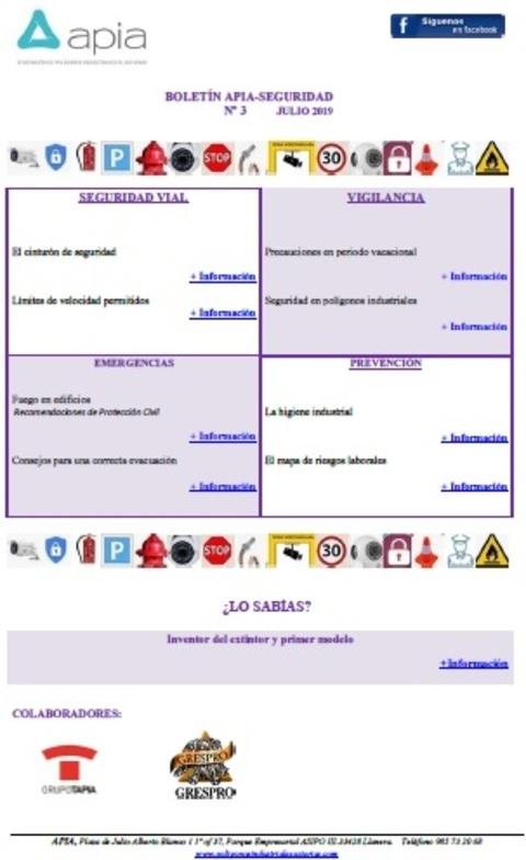Federación de Polígonos Industriales de Asturias - Boletín APIA-SEGURIDAD nº 3, julio 2019 - Federación de Polígonos Industriales de Asturias