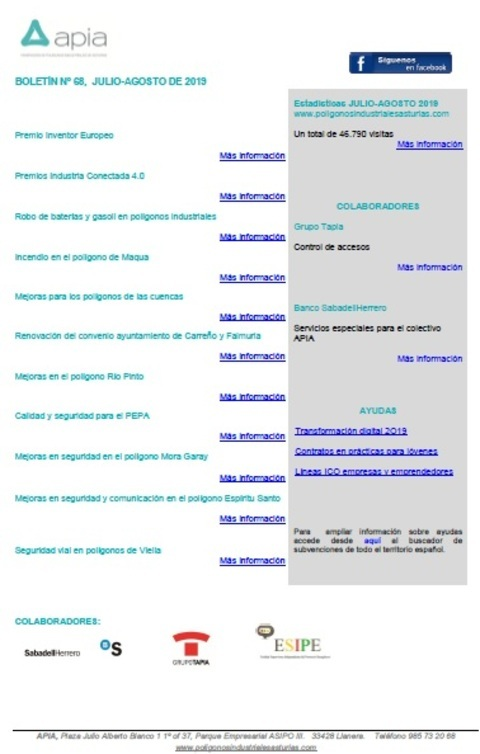 Federación de Polígonos Industriales de Asturias - Boletín nº 68, julio-agosto 2019 - Federación de Polígonos Industriales de Asturias